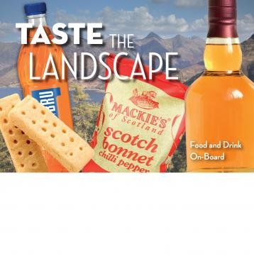 Taste the landscape - on-board catering menu cover