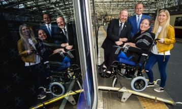 <p>Left to right: MND Scotland CEO Craig Stockton, ScotRail Alliance Managing Director Alex Hynes, MND patient Alison McDonald, Tammie McKinley</p>