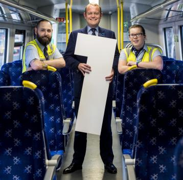 <p>Alex Hynes, ScotRail Alliance Managing Director, with Paul Brannigan and Kirsty Brown</p>