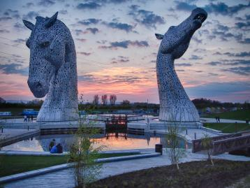 View of The Kelpies at sunset